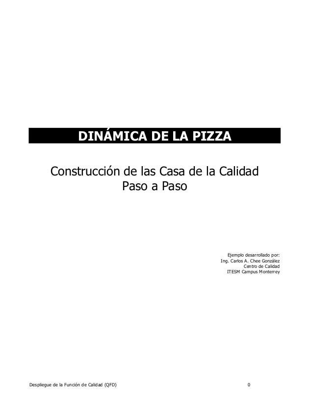 Despliegue de la Función de Calidad (QFD) 0 DINÁMICA DE LA PIZZA Construcción de las Casa de la Calidad Paso a Paso Ejempl...