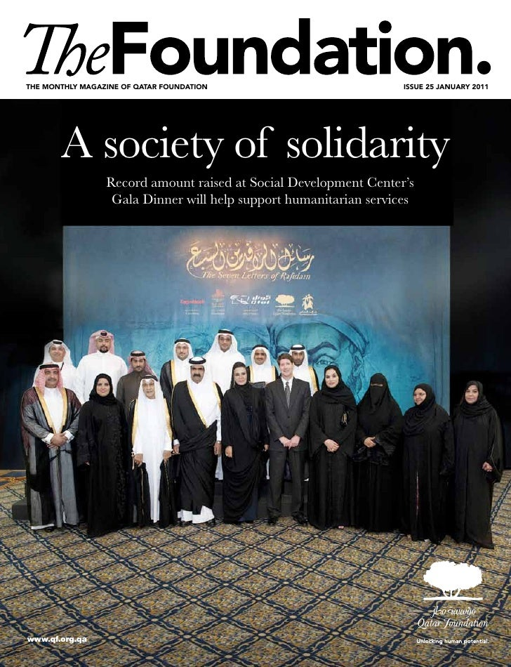 The monThly magazine of qaTar foundaTion                           issue 25 january 2011       A society of solidarity    ...