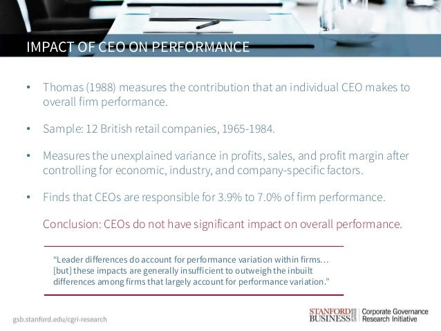 ceo compensation and firm performance Tsr, executive compensation, and firm performance a brief prepared by the institute for compensation studies sector, change in ceo leadership, time e ects.
