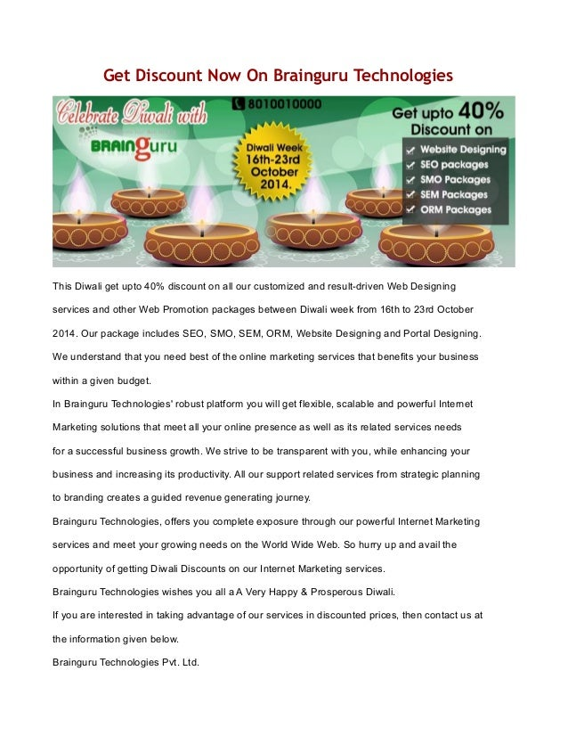 Get Discount Now On Brainguru Technologies  This Diwali get upto 40% discount on all our customized and result-driven Web ...