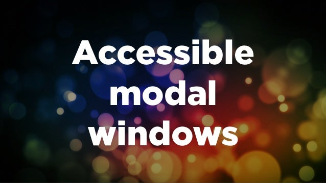 Accessible modal windows
