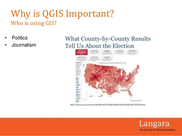• Politics • Journalism Why is QGIS Important? Who is using GIS?