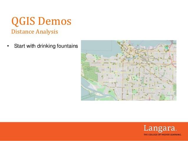 • Start with drinking fountains QGIS Demos Distance Analysis