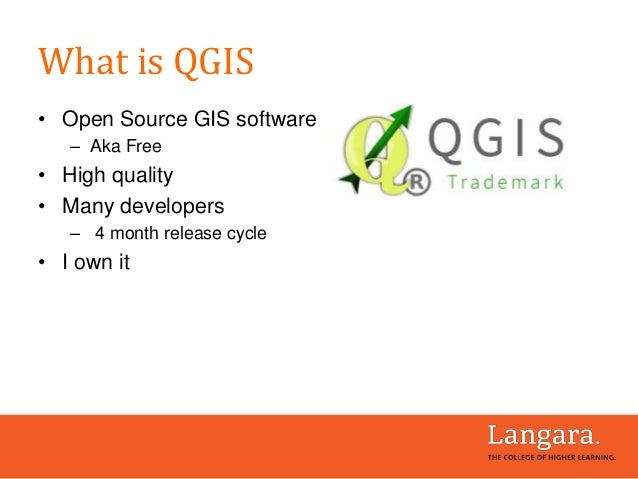 What is QGIS • Open Source GIS software – Aka Free • High quality • Many developers – 4 month release cycle • I own it