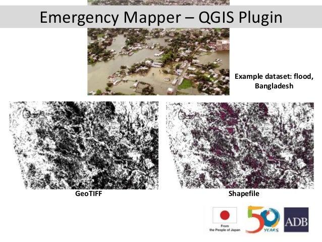 GeoTIFF Shapefile Example dataset: flood, Bangladesh Emergency Mapper – QGIS Plugin