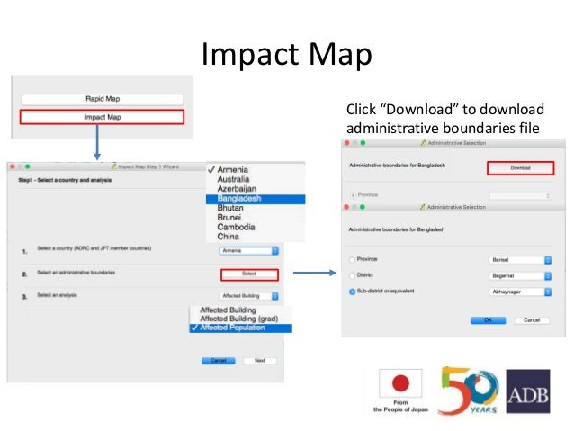 """Impact Map Click """"Download"""" to download administrative boundaries file"""