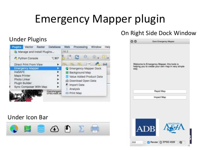 Emergency Mapper plugin Under Plugins Under Icon Bar On Right Side Dock Window