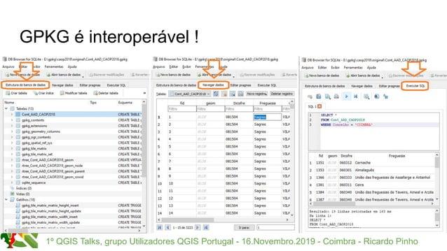1º QGIS Talks, grupo Utilizadores QGIS Portugal - 16.Novembro.2019 - Coimbra - Ricardo Pinho GPKG é interoperável !