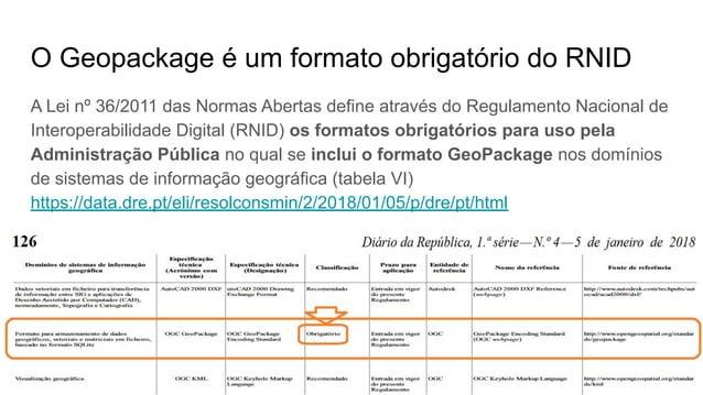 1º QGIS Talks, grupo Utilizadores QGIS Portugal - 16.Novembro.2019 - Coimbra - Ricardo Pinho O Geopackage é um formato obr...