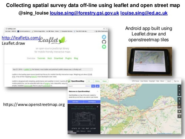Collecting spatial survey data off-line using leaflet and open street map @sing_louise louise.sing@forestry.gsi.gov.uk lou...