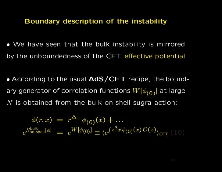 Boundary description of the instability• We have seen that the bulk instability is mirroredby the unboundedness of the CFT...