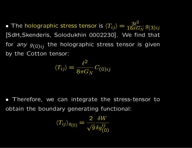 • The holographic stress tensor is Tij =     3ℓ2 g                                           16πGN (3)ij[SdH,Skenderis, So...