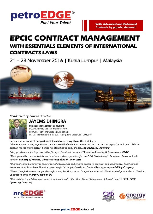 Pd Epcic Contract Management  Essential Elements Of International