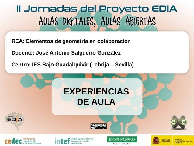 EXPERIENCIAS DE AULA REA: Elementos de geometría en colaboración Docente: José Antonio Salgueiro González Centro: IES Bajo...