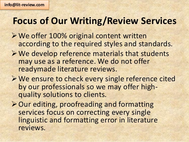 Consulting agency writing literature reviews