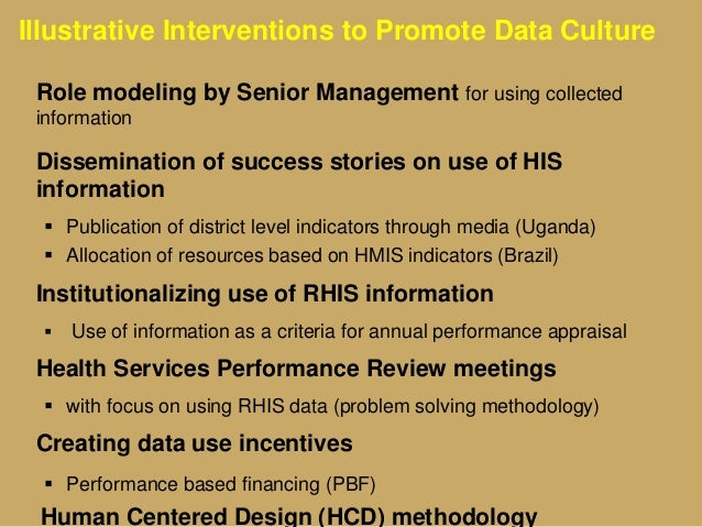 Illustrative Interventions to Promote Data Culture Role modeling by Senior Management for using collected information Diss...