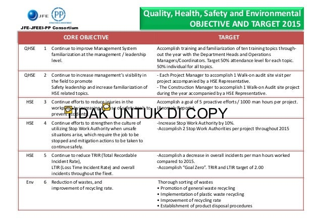Quality, Health, Safety and Environmental OBJECTIVE AND TARGET 2015 CORE OBJECTIVE TARGET QHSE 1 Continue to improve Manag...