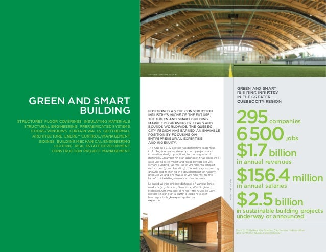 GREEN AND SMART BUILDING INDUSTRY IN THE GREATER QUEBEC CITY REGION 295companies 6500jobs $1.7billion in annual revenues $...