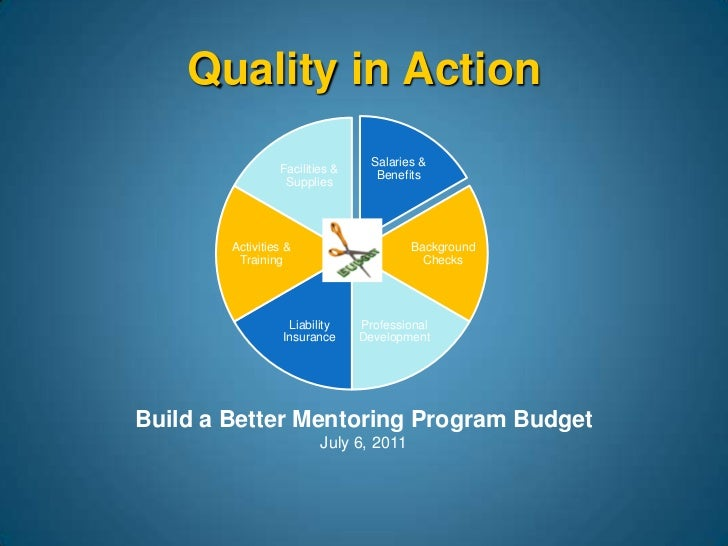 Build a Better Mentoring Program Budget July 6, 2011 Quality in Action Salaries & Benefits Background Checks Professional ...