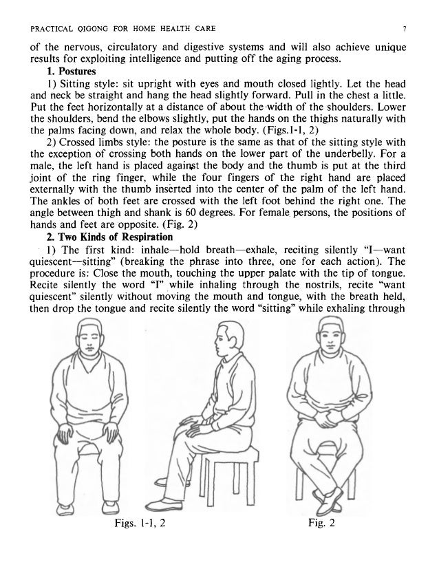 8 PRACTICAL QIGONG FOR HOME HEALTH CARE the mouth. Repeat this for 30 minutes or so. 2) The second kind: inhale-exhale-hol...