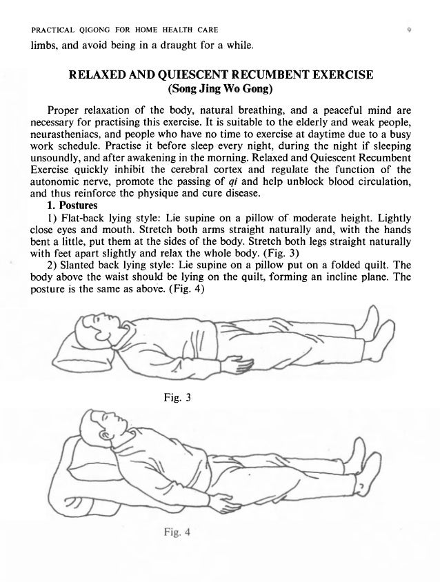 10 PRACTICAL QIGONG FOR HOME HEALTH CARE PRACTIl 3)Side-lyingstyle: Lieon left or right sidewith a pillow of moderate heig...