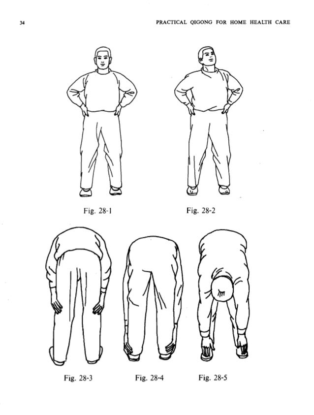 ALTH CARE 1 PRACTICAL QIGONG FOR HOME HEALTH CARE 35 Stand with the same beginning posture as above. Put the hands akimbo ...