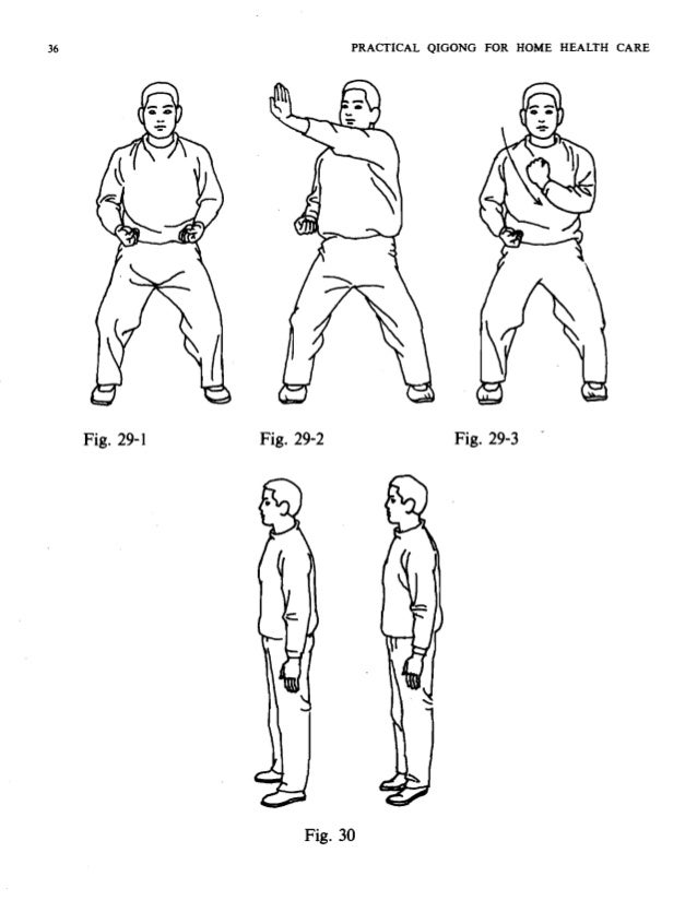PRACTICAL QIGONG FOR HOME HEALTH CARE 37 When the head is turning to the right, press the head with the hands to the left ...