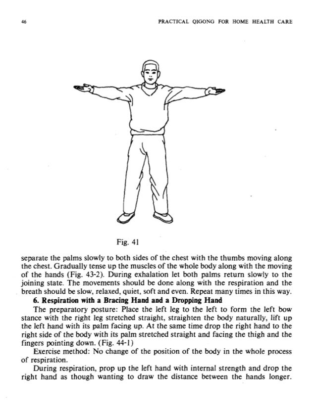 :ALTH CARE 1 PRACTICAL QIGONG FOR HOME HEALTH CARE I Fig. 42 Contract the muscles of the whole body along with the movemen...