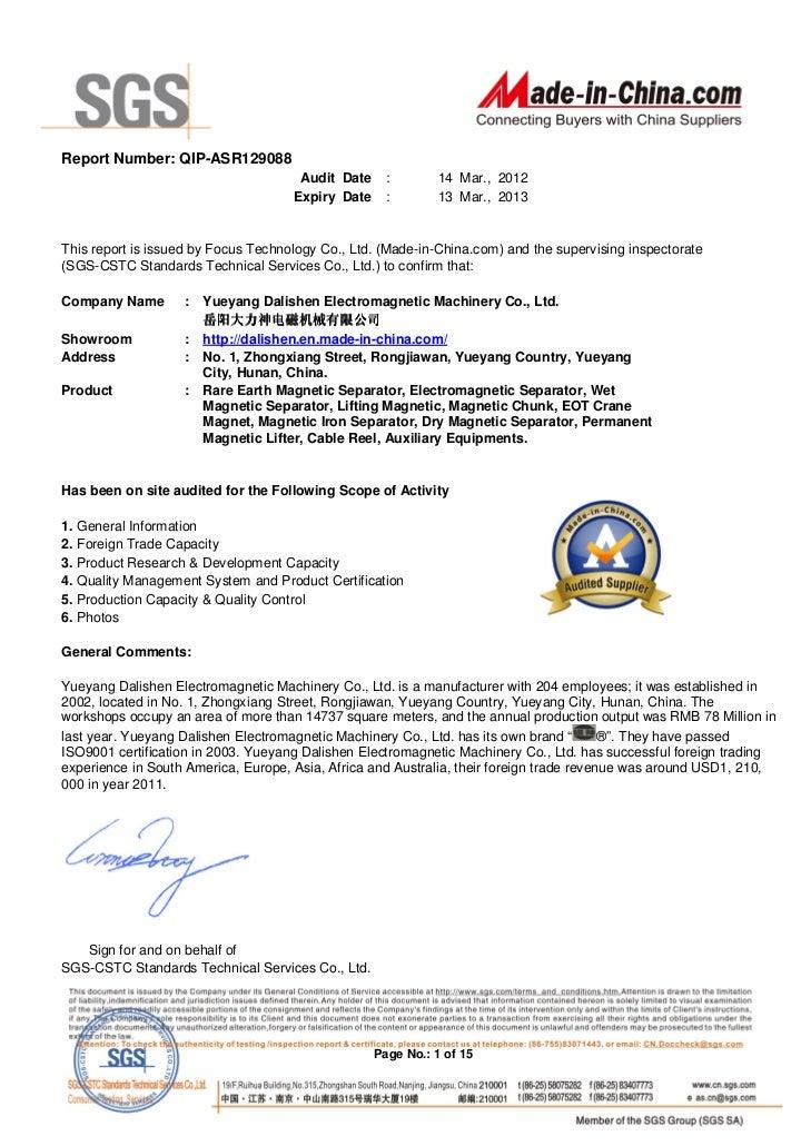 Report Number: QIP-ASR129088                                      Audit Date     :       14 Mar., 2012                    ...