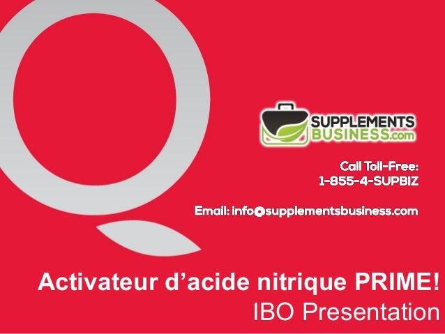 Activateur d'acide nitrique PRIME! IBO Presentation