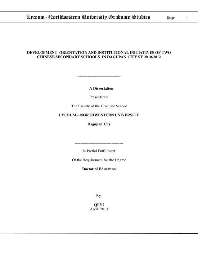 Lyceum-Northwestern University Graduate Studies Page iDEVELOPMENT ORIENTATION AND INSTITUTIONAL INITIATIVES OF TWOCHINESE ...