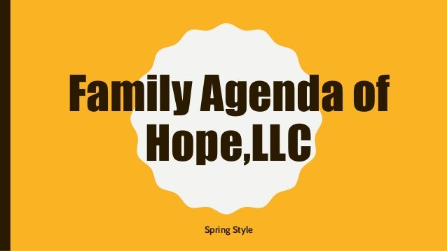 Family Agenda of Hope,LLC Spring Style