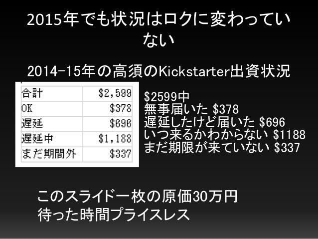 2015年でも状況はロクに変わってい ない 2014-15年の高須のKickstarter出資状況 $2599中 無事届いた $378 遅延したけど届いた $696 いつ来るかわからない $1188 まだ期限が来ていない $337 このスライド...