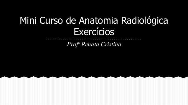 Mini Curso de Anatomia Radiológica  Exercícios  Profª Renata Cristina