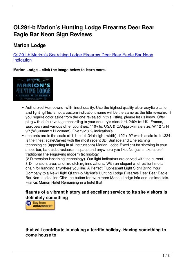 QL291-b Marion's Hunting Lodge Firearms Deer BearEagle Bar Neon Sign ReviewsMarion LodgeQL291-b Marion's Searching Lodge F...