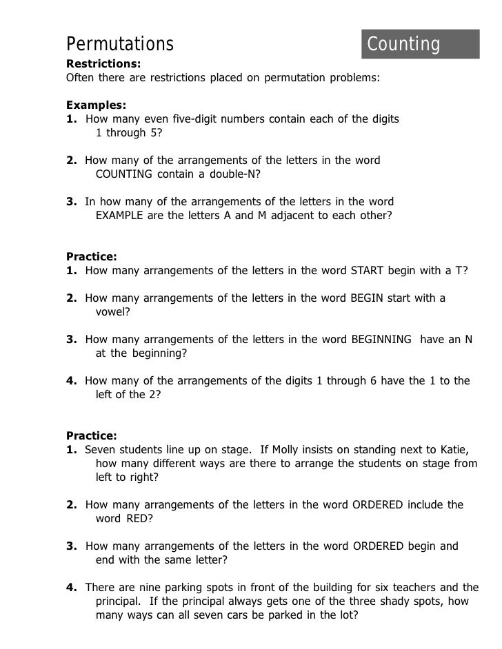 Permutations And Combinations Practice Worksheet With Answers Images