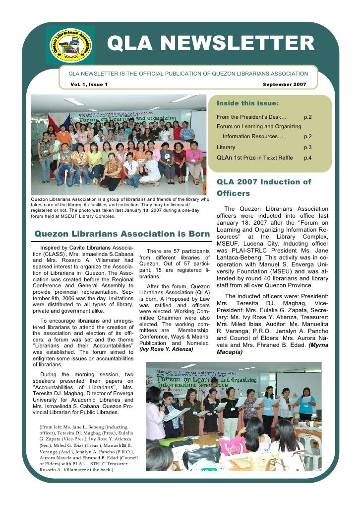 QLA NEWSLETTER                  QLA NEWSLETTER IS THE OFFICIAL PUBLICATION OF QUEZON LIBRARIANS ASSOCIATION               ...