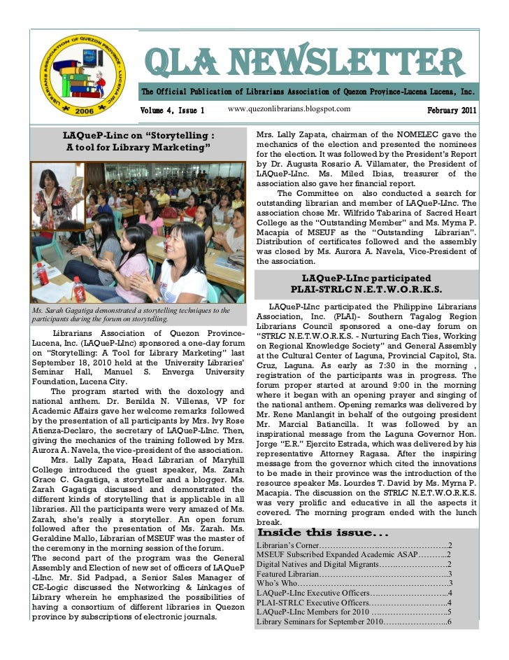QLA NEWSLETTER                                   The Official Publication of Librarians Association of Quezon Province-Luc...
