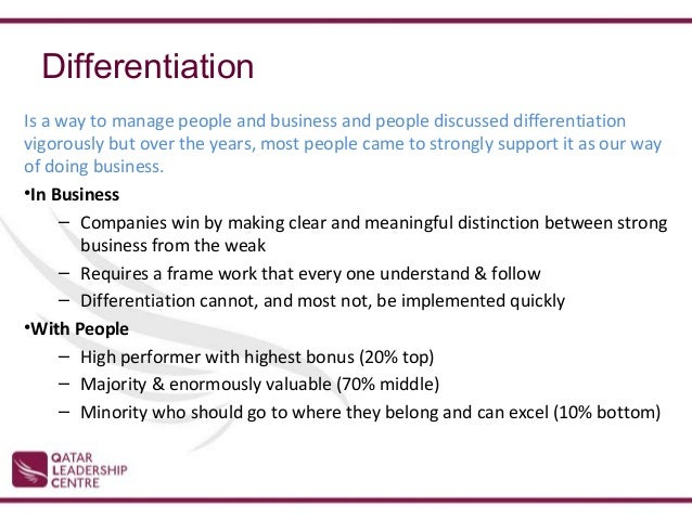 jack welch on differentiation Welch begins winning with an introductory section called underneath it all, which describes his business philosophy he explores the importance of values, candor, differentiation, and voice and dignity for all.