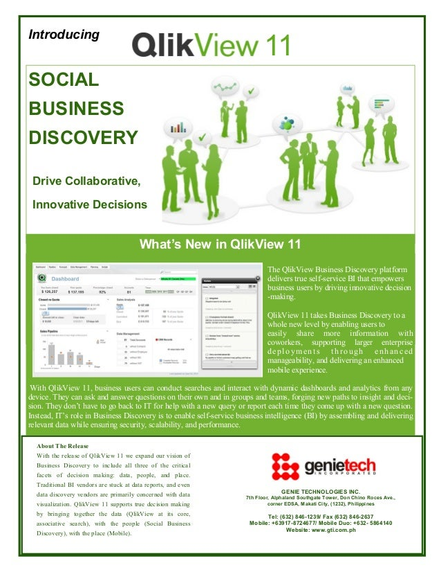 Introducing  11  SOCIAL BUSINESS DISCOVERY Drive Collaborative, Innovative Decisions  What's New in QlikView 11 The QlikVi...