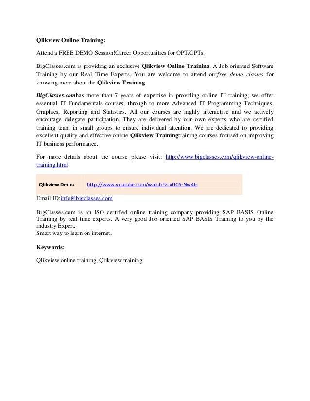 Qlik View Online Training Tutorials And Qlikview Online Certification