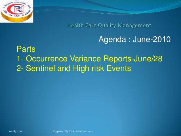 Quality Health Occurence-Variance Report-Part 1.ppt Slide 2