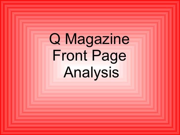 Q Magazine  Front Page  Analysis