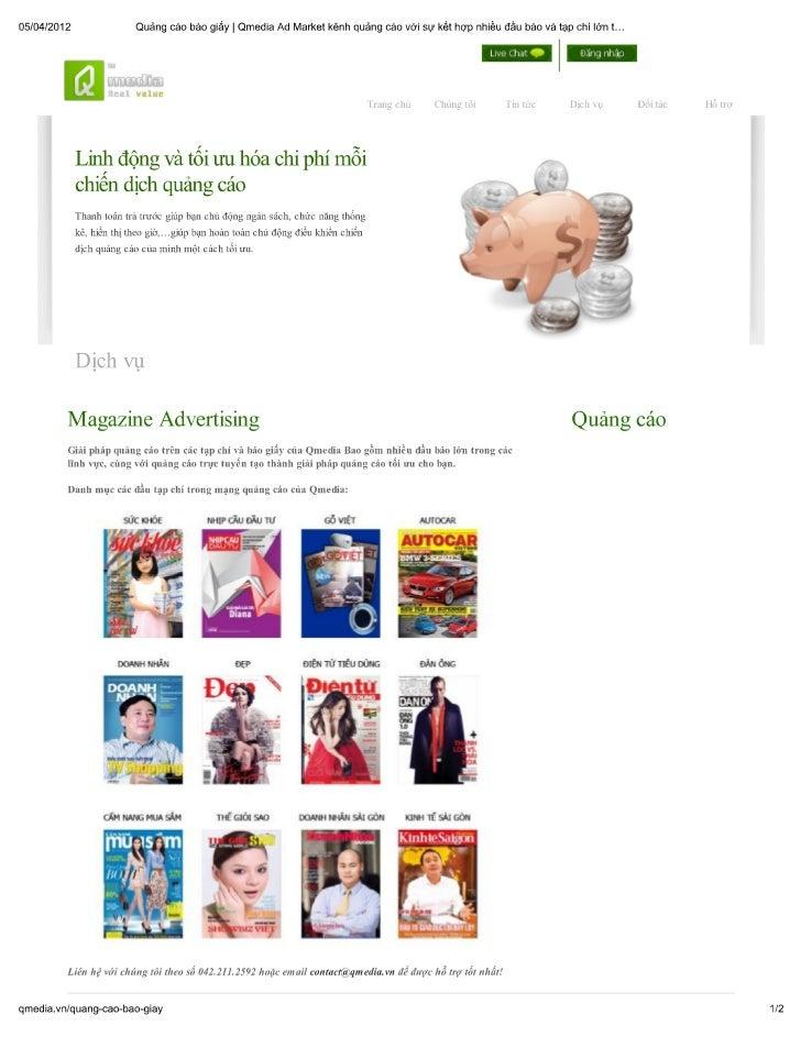 Qmedia ad market kênh quảng cáo với sự kết hợp nhiều đầu báo và tạp chí lớn tại việt nam