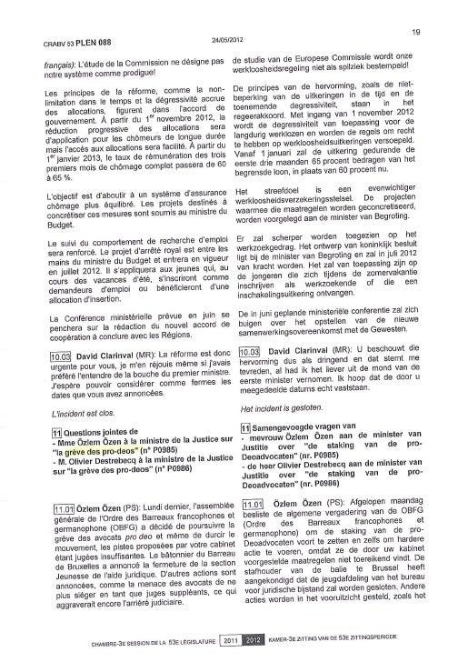 Q° ministre plénière   l'aide juridique et son fonctionnement 24 mai 2012