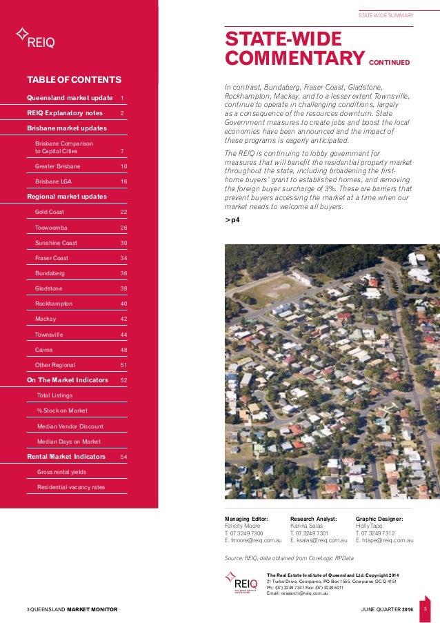 Queensland market monitor june quarter 2016 for Table 52 townsville