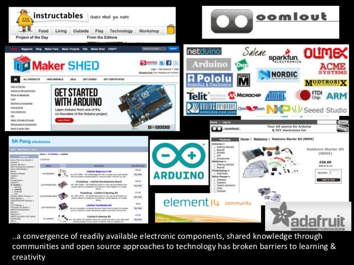 ..a convergence of readily available electronic components, shared knowledge throughcommunities and open source approaches...