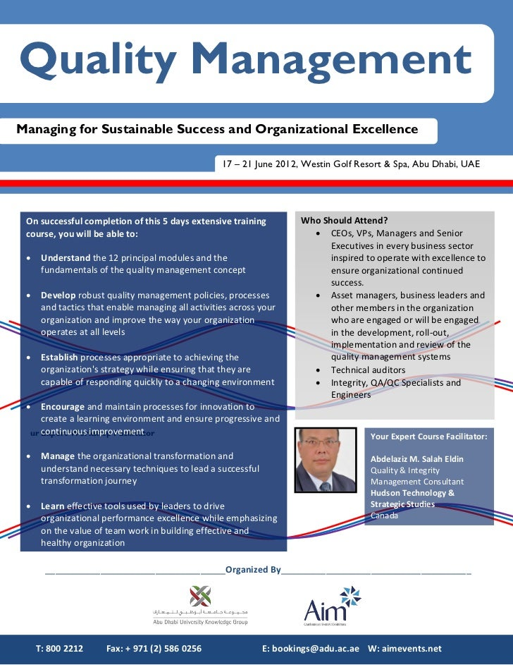 Quality ManagementManaging for Sustainable Success and Organizational Excellence                                          ...
