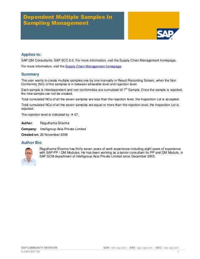 SAP COMMUNITY NETWORK SDN - sdn.sap.com   BPX - bpx.sap.com   BOC - boc.sap.com © 2009 SAP AG 1 Dependent Multiple Samples...