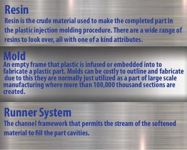 Runner System The channel framework that permits the stream of the softened material to fill the part cavities. Resin Resi...